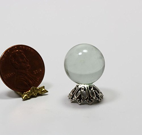 Dollhouse Miniature Clear Crystal Fortune Tellers Ball on Silver (Fortune Teller Games Halloween)
