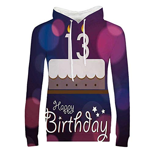 13th Birthday Decorations Durable Hoodies,Hand Drawn Party Cake with Number Candles Abstract Backdrop for Women,M