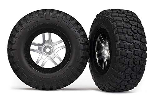 Traxxas 6873 BF Goodrich Mud Terrain T/A KM2 Tires Pre-Glued on Satin Chrome, Black Beadlock-Style Wheels (pair) ()