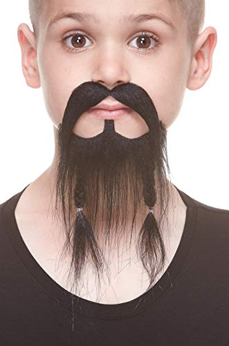 Mustaches Fake Beard, Self Adhesive, Small, Braided Pirate False Facial Hair for Kids, Black Color ()