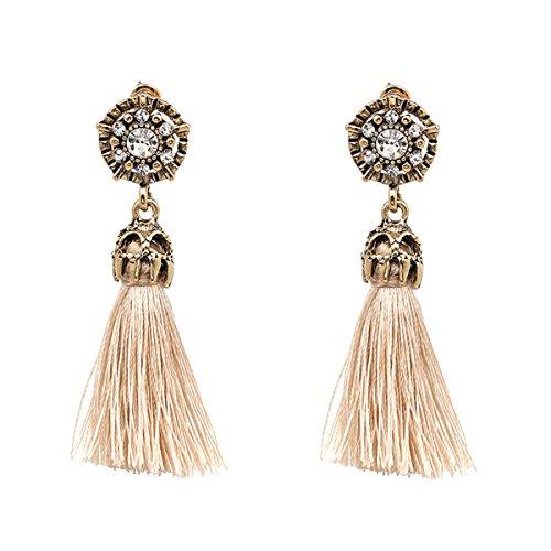 Women Vintage Earring Hollow Crystal Tassel Dangle Stud Earrings (Beige)
