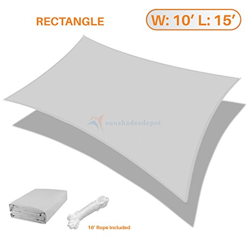 Sunshades Depot 10' x 15' Rectanlge Waterproof Knitted Shade Sail Curved Edge Light Gray/Light Grey 220 GSM UV Block Shade Fabric Pergola Carport Canopy Replacement Awning Customize (220 Block)