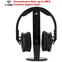 2.4GHz Wireless TV Headphone Artiste ADH500 Wireless Headphone PF 100ft Effective Distance HiFi Headset with 3.5mm Jack for Computer TV Black