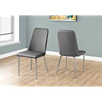 Monarch Specialties I 1035 2 Piece Dining Chair-2PCS/ 37 H Leather-Look/Chrome, Grey