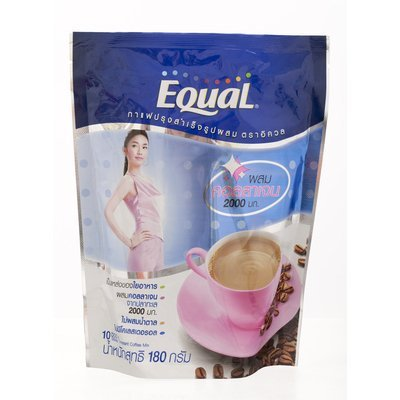 (New Equal Instant Coffee Powder with Collagen 2000mg. (18g.x10 Sachets))