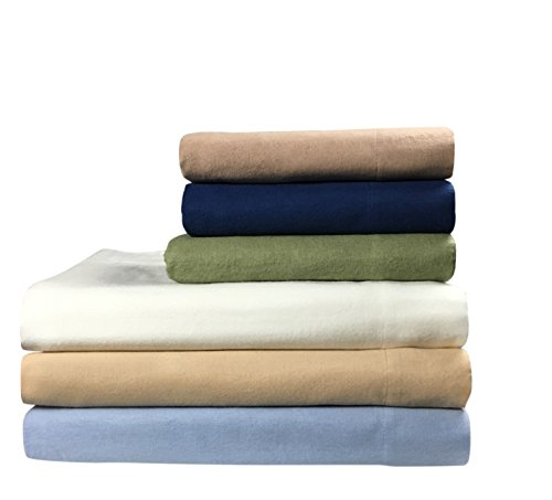 """Seraglio Flannel Fitted Sheet Queen 100% Cotton 1 Fitted Sheet Only (60""""x80"""") (Navy, Queen)"""