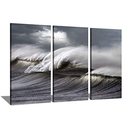 Hardy Gallery Abstract Seascape Artwork Wave Paintings: Ocean Storm at Sunset Photographic Arts Print Multi-Piece Image on Canvas for Wall Decor