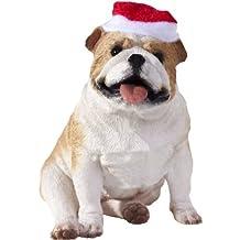Sandicast XSO02204 Fawn Bulldog with Santa Hat Christmas Ornament