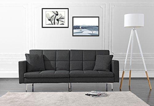 Modern Plush Tufted Linen Split Back Living Room Futon, Sofa for Small Space (Dark Grey)