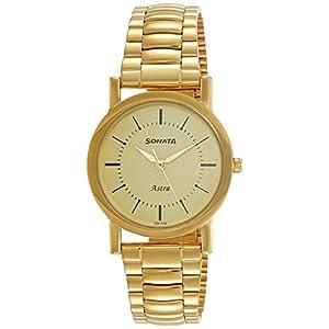 Sonata Analog Champagne Dial Men's Watch-77049YM01C