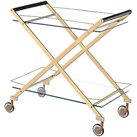 Urbanmod UM3934 Midcentury Modern Brushed Gold Metal Bar Cart
