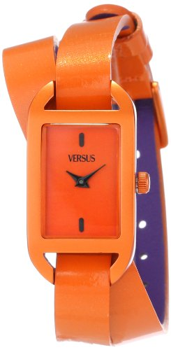 Versace Patent Leather - Versus by Versace Women's SGQ020013 Ibiza Rectangular Orange Aluminum Case Leather Strap Patent Top Watch