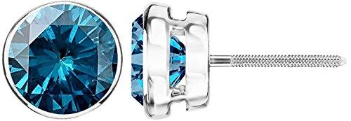 2.5 Carat Total Weight Blue Diamond Solitaire Stud Earrings Pair Platinum Popular Premium Collection Bezel Screw Back ()