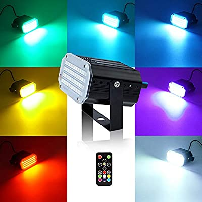 softeen Strobe Light with Remote, Sound Activated DJ Strobe Light w/Super Bright 48pcs LED 5050, Flash Speed Adjustable & 7-Color Convertible, Flash Stage Light for Halloween Party Disco Bars from softeen