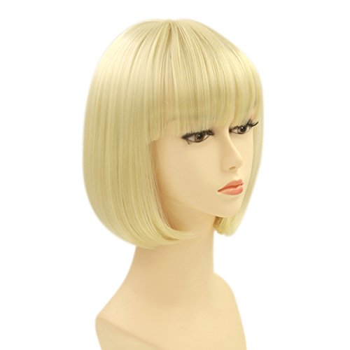 Short Blonde Wig With Bangs (Charming Short Bob Wigs Straight Bang Cosplay Party Costume Wig Natural as Real hair 11 inch (Blonde))