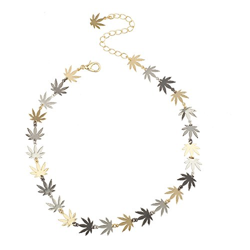 Lux Accessories Tri Tone Marijuana 420 bud Weed Leaf Hippie Choker Necklace