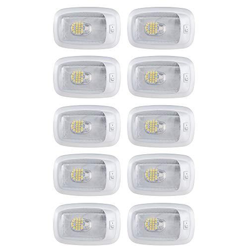 RV LED 12v 3200K | Ceiling Fixture Single Dome Light | White Housing | Clear Lens | Camper | Trailer | 10 Pack