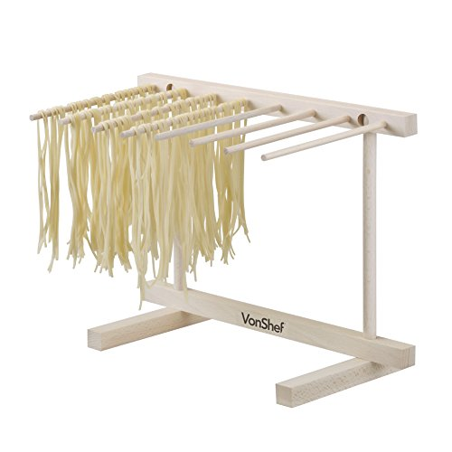 VonShef Collapsible Wooden Pasta and Spaghetti Drying Rack Stand, Natural Beechwood, by VonShef