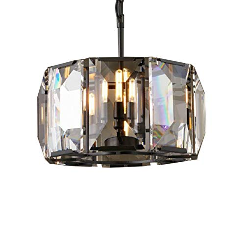Harlow Crystal Chandelier Wrought Iron Retro Creative Decorative Pendant Lights for Living Room Restaurant Villa Hotel Lighting Fixture-Black - Crystal Harlow