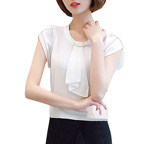 Sunhusing Women's Solid Color Chiffon Joker Short Sleeve Casual Shirt Top Brief Office Work T-Shirt White