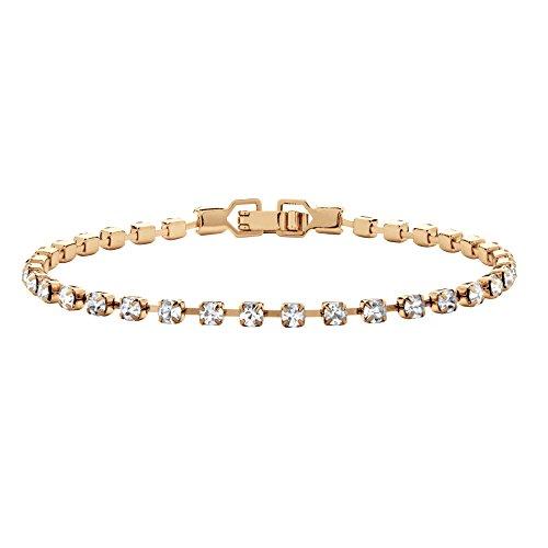(Lux Birthstone Crystal Gold Tone Tennis Bracelet 7.25