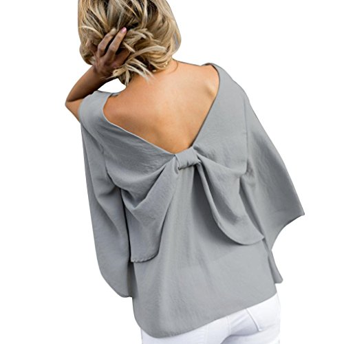 Inverlee Women Back V-Neck Bowknot Blouse Chiffon Long Sleeve T Shirt Tops (L, Gray)