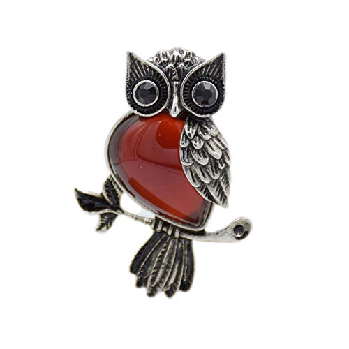Retro Silver Plated Malachite Tiger Eye Rose Pink Quartz Natural Stone Owl Necklace Pendants,Redagates