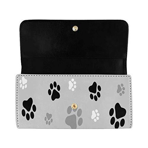 InterestPrint Women's Trifold Long Clutch Wallets Animal Paw Prints PU Leather Card Holder Purses (Women Wallet Animal Print)