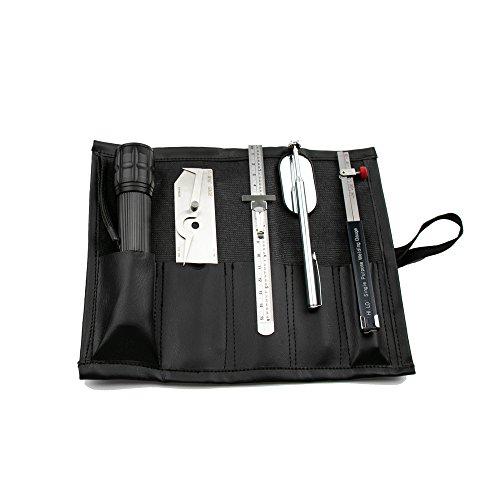 (JINSLU Welding Gauge Inspection Tool Kit Flashlight,Inch V-WAC Undercut, 0-150mm ruler, inspection mirror, Inch Internal HI-LO gauge 5PCS/SET)