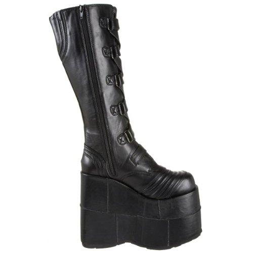 Demonia by Pleaser Women's STACK-308 Knee High Black Pu Vegan Boots 6 B(M) ()