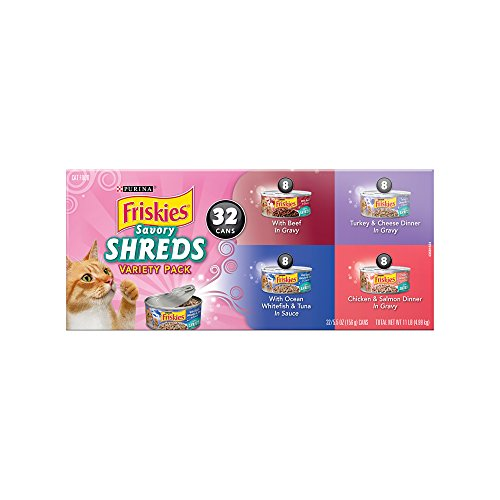 41XRGihySEL - Purina Friskies Savory Shreds Adult Wet Cat Food Variety Pack - (32) 5.5 oz. Cans