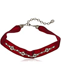 Mod Victorian Burgundy Velvet and Swarovski Crystal Choker Necklace