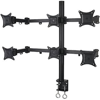 """VIVO Hex LCD Monitor Desk Mount Stand Heavy Duty & Fully Adjustable 6 Screens upto 24"""" (STAND-V006)"""