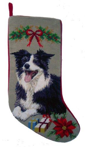 Border Collie Dog Needlepoint Christmas Stocking ()