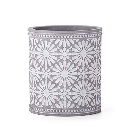 Kitchen Cooking Utensil Holders   Fine Embossed Ceramic Utensils Crock   Ceramic Utensil Container (Flower Pattern) ()