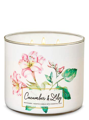 White Barn Bath & Body Works 3 Wick Candle Cucumber & - Lily Candle