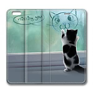 iPhone 6 Case, Sakuraelieechyan Customized Protective PU Leather Flip Cover Missing You Cat for iPhone 6(4.7 inch) by runtopwell
