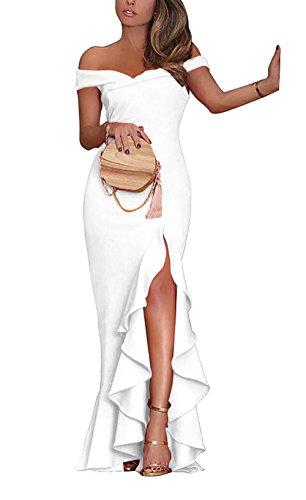 9c8001704173 PRETTYGARDEN Women s 2018 Off Shoulder Side Split Slim Evening Maxi Party  Dress - Buy Online in Oman.