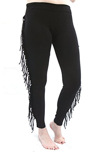 SWEET VIRTUES Women's Felicity Side Fringe Cotton-Spandex Legging S BLACK 41XRHjURI3L
