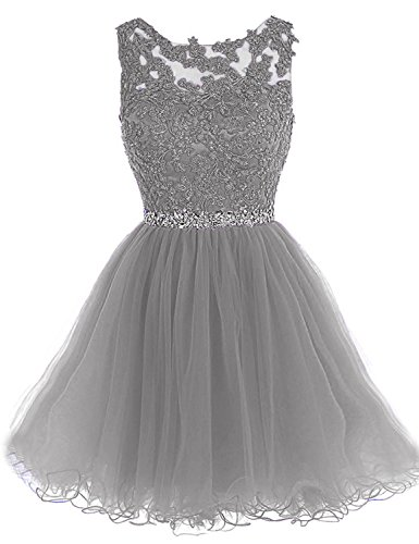 WDING Short Cocktail Dresses Appliques Beads Girls Occasion
