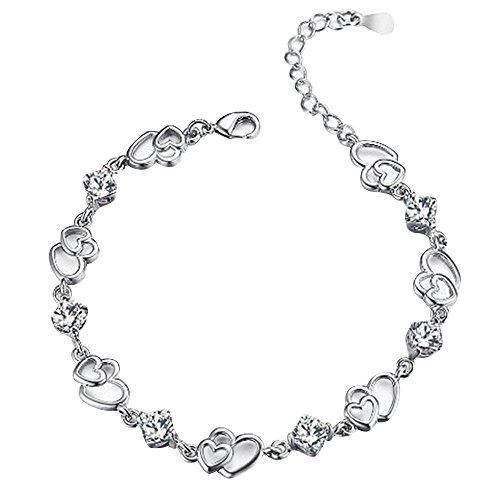 Contever® Charm & Bead ELEMENTS Kristall Armbänder 925 Silber Armreif für Damen (Silber)
