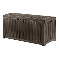 Deck Boxes Suncast 99 Gallon Resin Wicker Patio Outdoor Storage Container for Toys, Furniture Deck box, Mocha outdoor deck boxes
