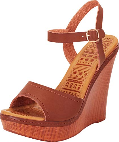 Cambridge Select Women's Classic Open Toe Chunky Platform Wedge Sandal,10 B(M) US,Brown PU