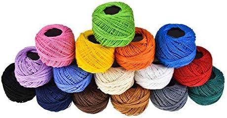 Hilo de Crochet de algodón de 16 Colores para Tejer artesanías, Hilo de algodón de Perlas, para Crochet, Hardanger, Punto de Cruz, Bordado a Mano, Ideal para Principiantes y entusiastas del Ganchillo: