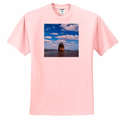 Danita Delimont - American Samoa - Single rock at Coconut Point in Tutuila Island, American Samoa - T-Shirts - Adult Light-Pink-T-Shirt Medium - Point Shops At Coconut