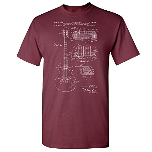 Gibson Les Paul McCarty Guitar Patent T-Shirt, Guitarist Gift, Musician Gift Maroon