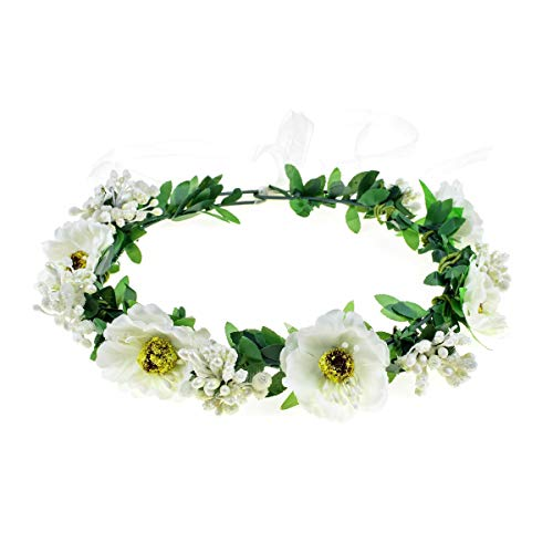 June Bloomy Rose Floral Crown Wreath Girls Flower Headband Boho Garland Halo Headpiece (Daisy Ivory)