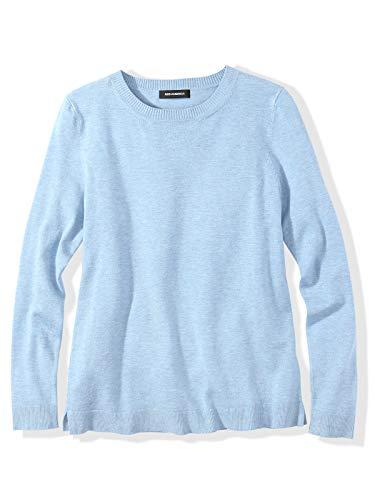 525 America Women's Crewneck Long Sleeve Sweater Top Light Blue, Large