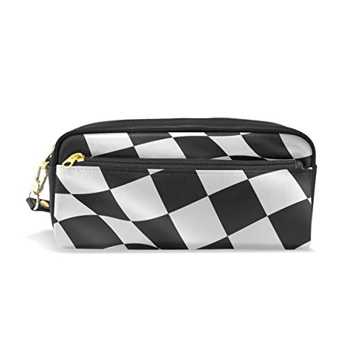 Pencil Case Large Capacity Holders Black White Checkered Flag Pen Stationery Pouch Bag with Zipper Makeup ()