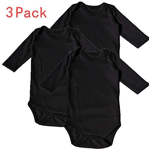 Newborn Sleeper Black - HIBSHABY Baby Bodysuit Long Sleeve -3 Pack Toddler Organic 100% Cotton Bodysuits for Infant Unisex Boys Girls Black 0-3 Months